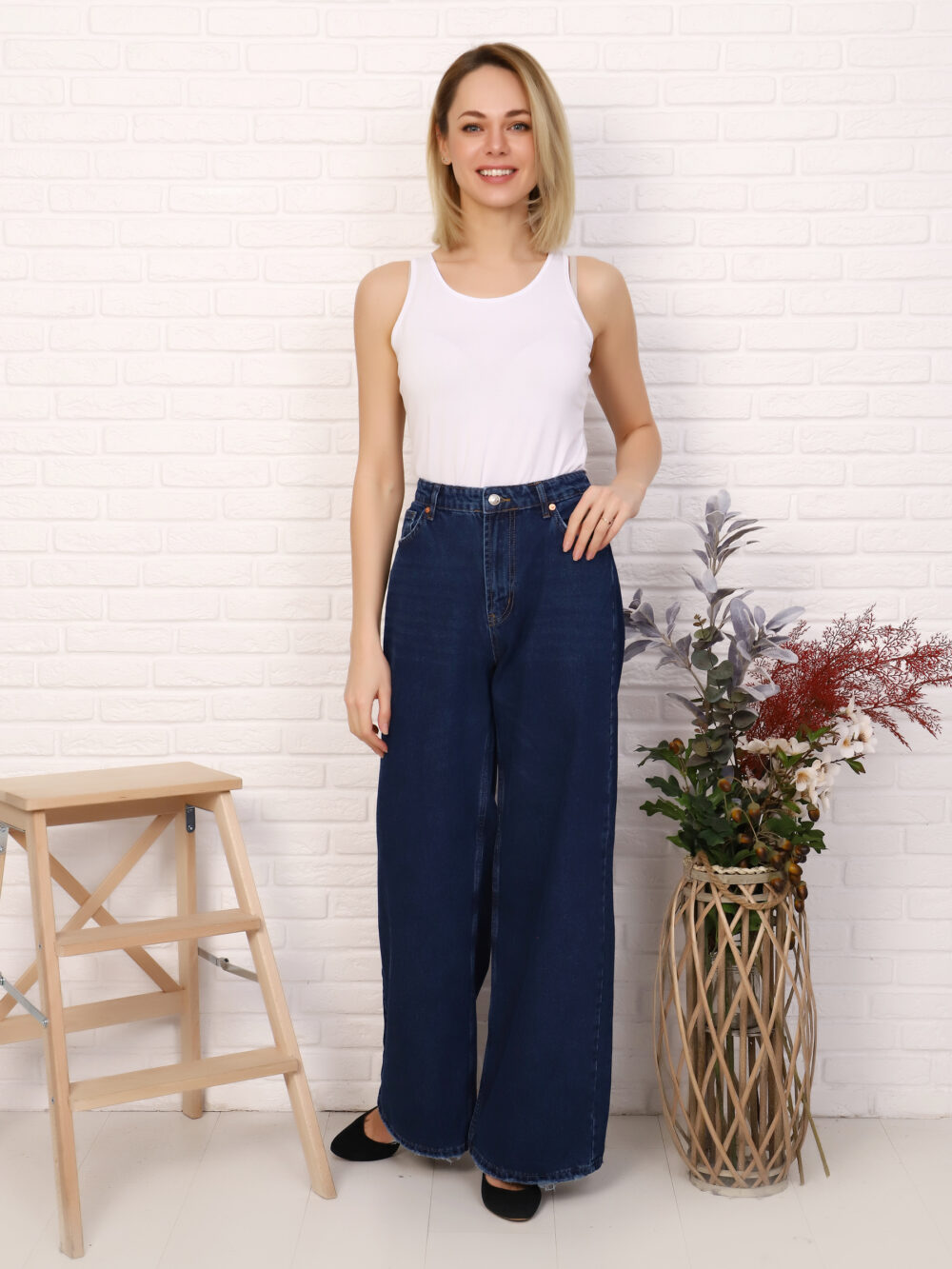 """IMG 5753 1000x1333 - Red Stop """"wide-leg  jeans"""""""