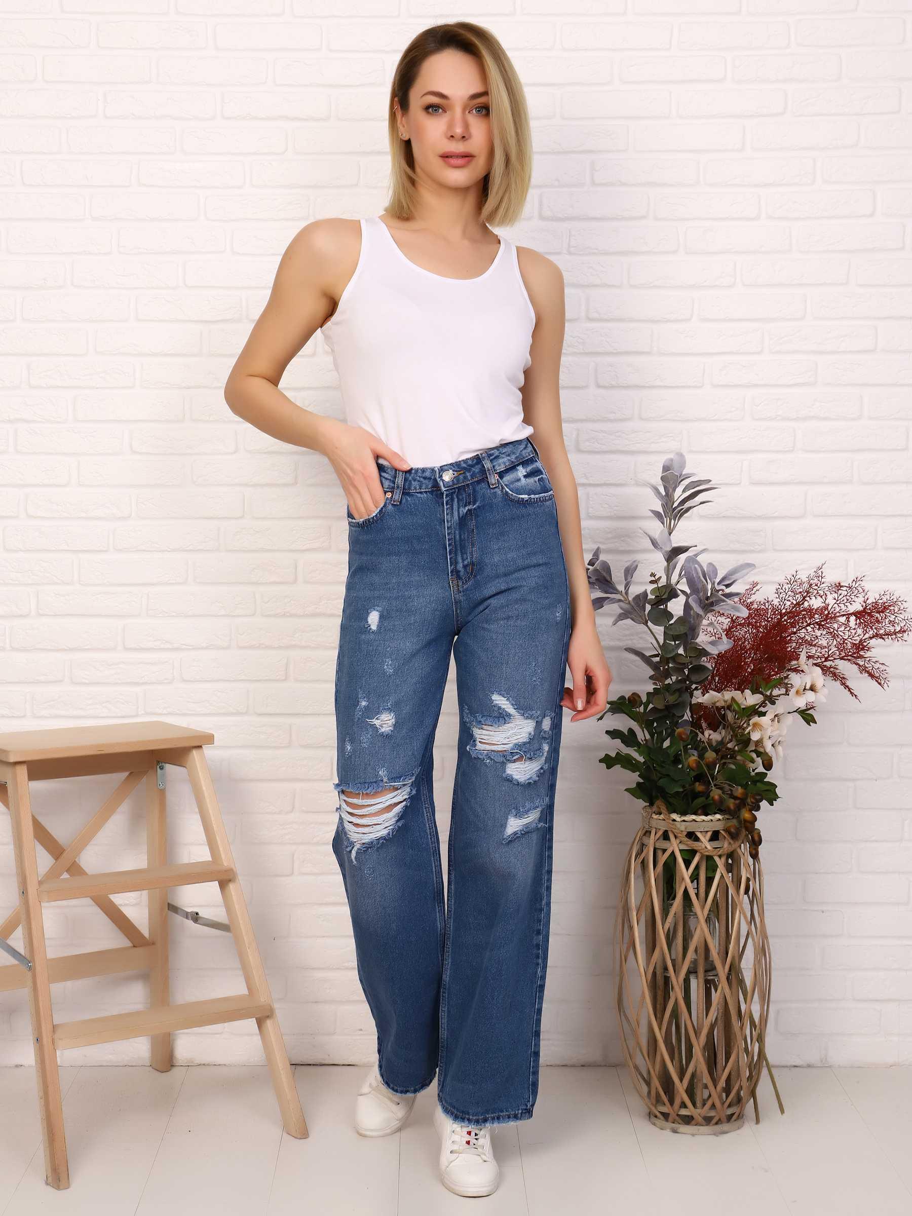 "IMG 5801 - Red Stop ""wide-leg  jeans"" синий"